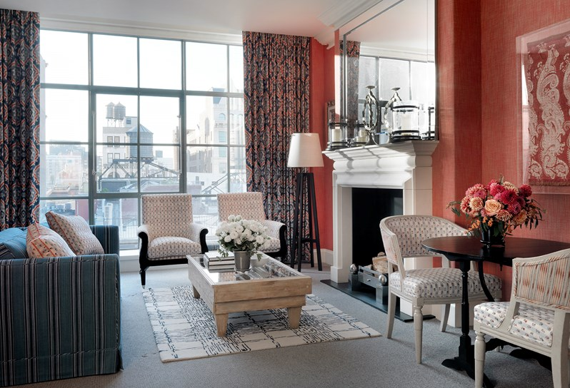 kit kemp crosby hotel suite with red wall
